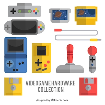 Collection of hardware and video games in flat design