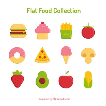 Collection of healthy and fast food