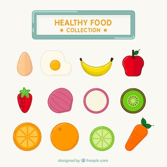 Collection of healthy fruits and vegetables