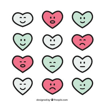 Collection of hearts with different expressions