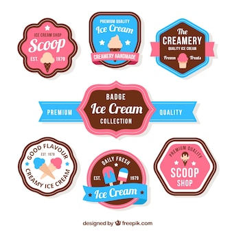 Collection of ice cream badges