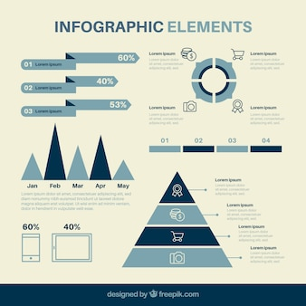 Collection of infographic elements in blue tones