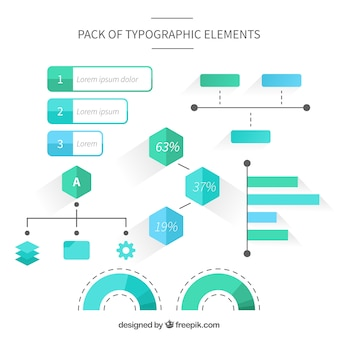 Collection of infographic elements in green and blue tones