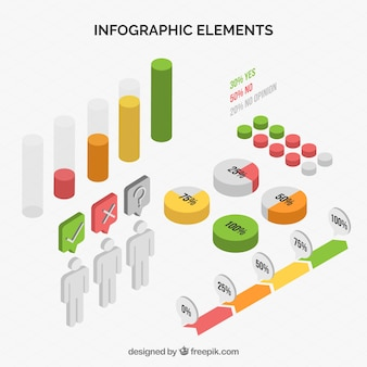 Collection of infographic elements in isometric style
