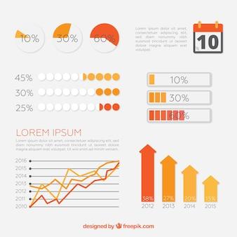 オレンジ色のインフォグラフィック要素の収集