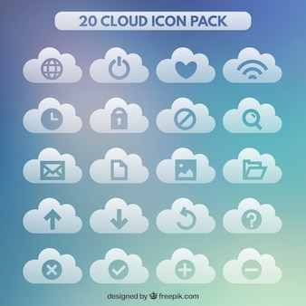 Collection of internet cloud icons