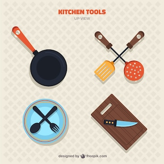 Collection of kitchen tools in top view