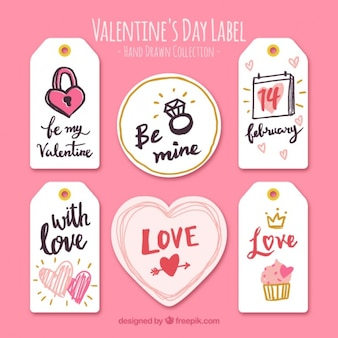 Collection of labels with valentine drawings