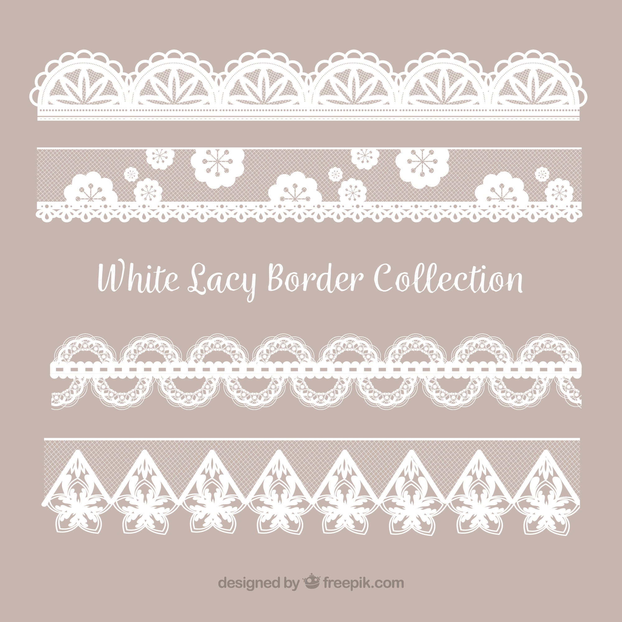 Collection of lace border in flat design