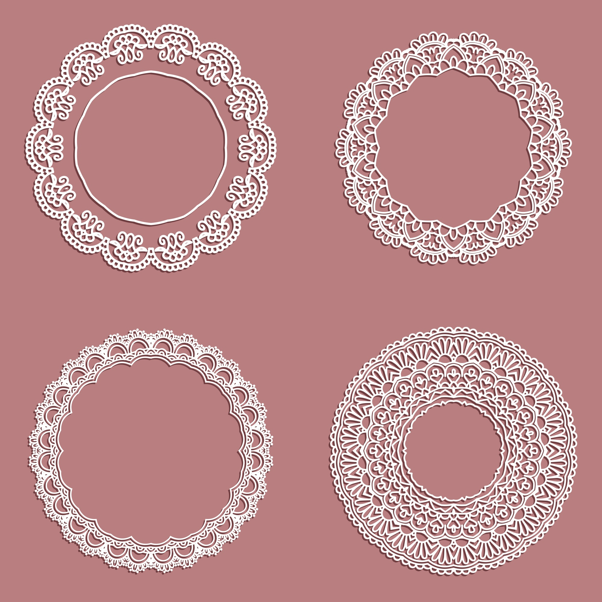 Collection of lace styled circular frames