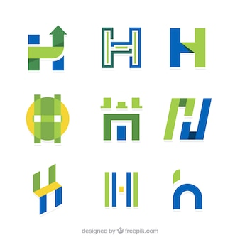 Collection of letter  h  logo in flat design