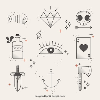 Collection of linear tattoos