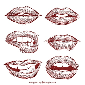 Collection of lips sketched