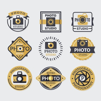 Collection of logos, colors gold and black