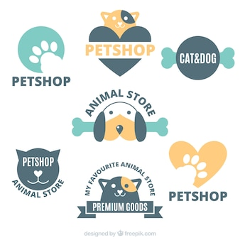 Collection of logos for a pet shop