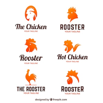 Collection of logos of roosters