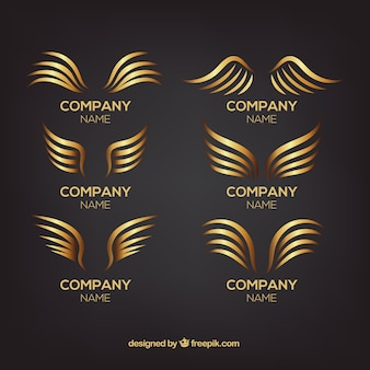 Collection of logos with golden wings