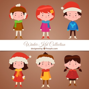 Collection of lovely children wearing winter hats and clothing