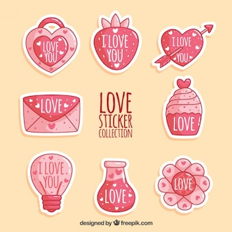Collection of lovely hand drawn love stickers