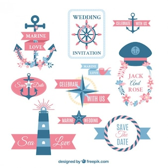 Collection of lovely marine wedding label