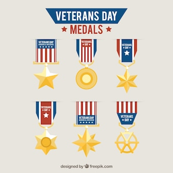 Collection of medals veterans day in flat design