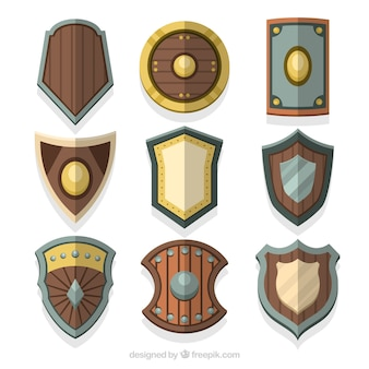 Collection of medieval wooden shields
