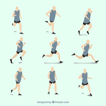 Collection of men running