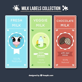 Collection of milk stickers with drawings in vintage style