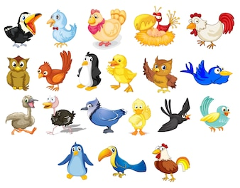Collection of mixed cartoon birds on white
