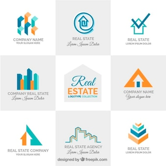 Collection of modern abstract real estate logo