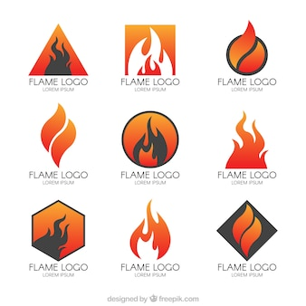 Collection of modern logos of flames