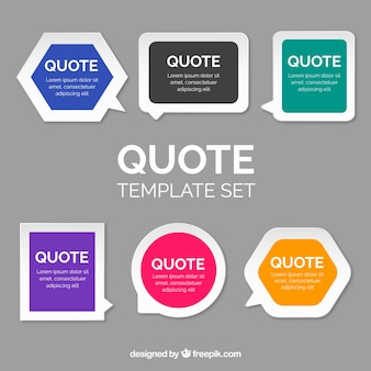 Collection of modern templates for quote in flat design