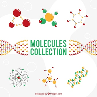 Collection of molecular structures in flat design