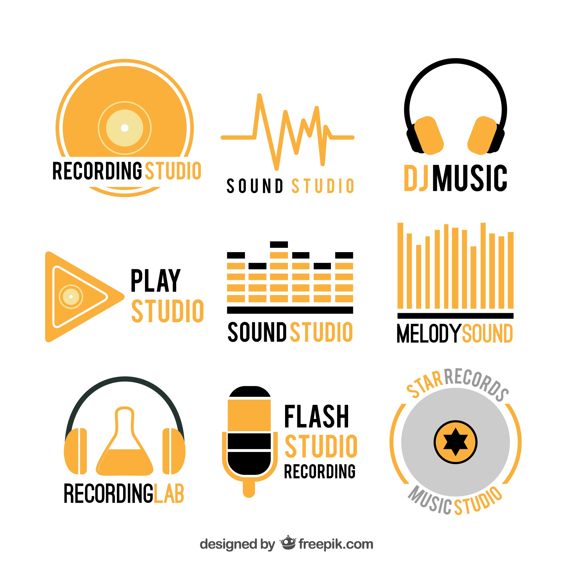 Collection of music logos