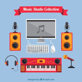 Collection of music studio elements