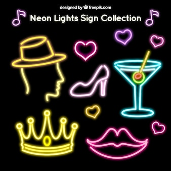 Collection of neon club signs and other elements