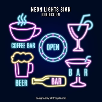 Collection of neon lights signs with pink details