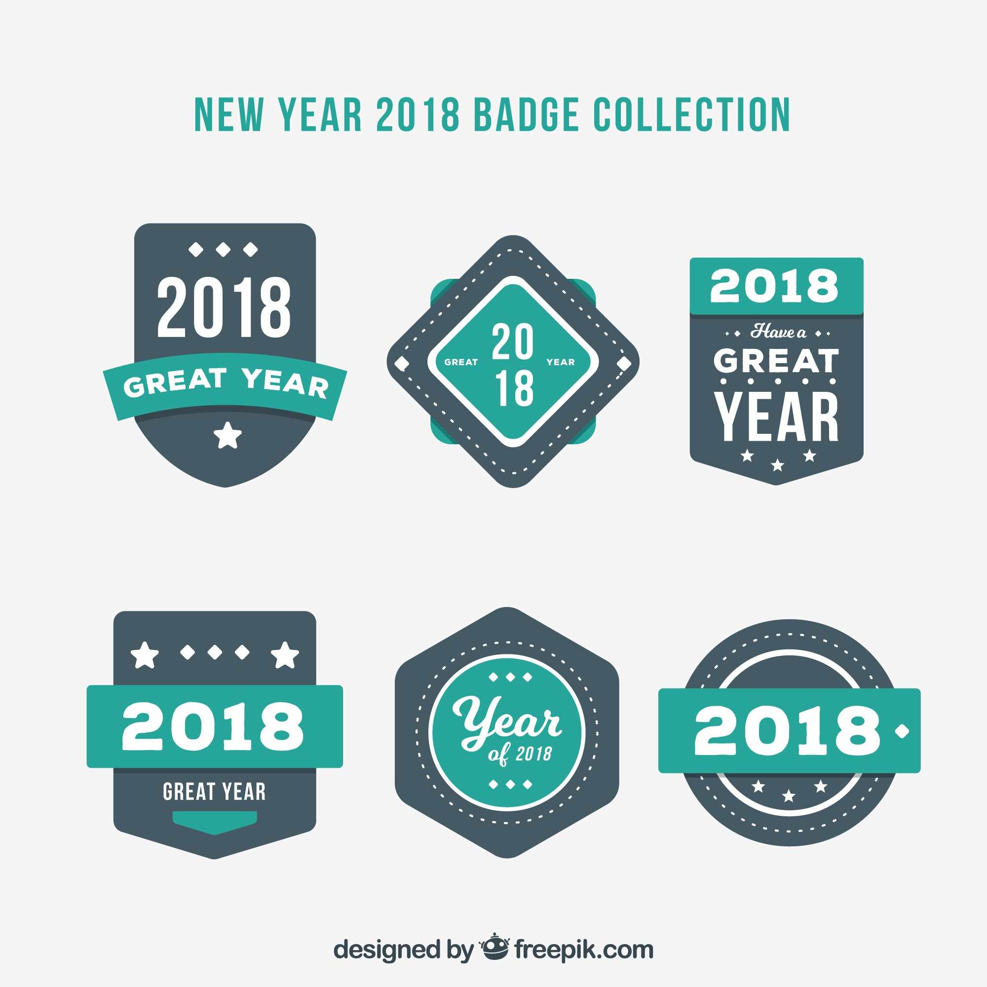 Collection of new year badges 2018