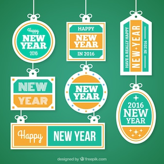 Collection of new year labels