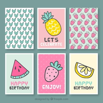 Collection of nice birthday card with fruits