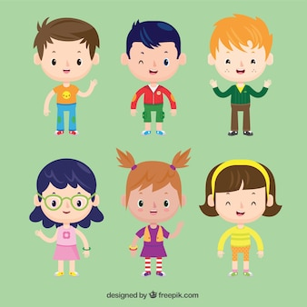 Collection of nice children in cartoon style