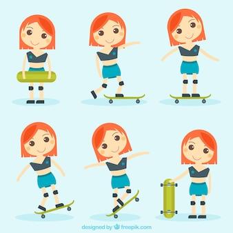 Collection of nice girl and skateboard