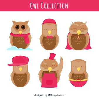 Collection of nice hand drawn owls