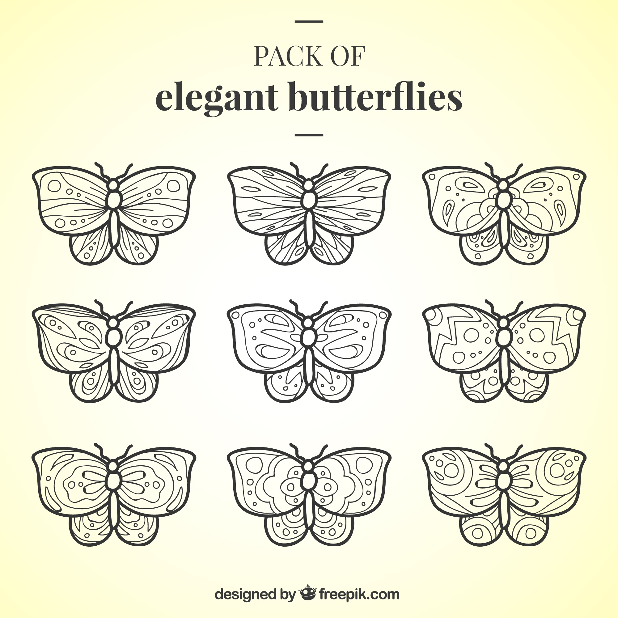 Collection of nine butterflies with ornamental designs