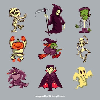 Collection of nine characters of halloween