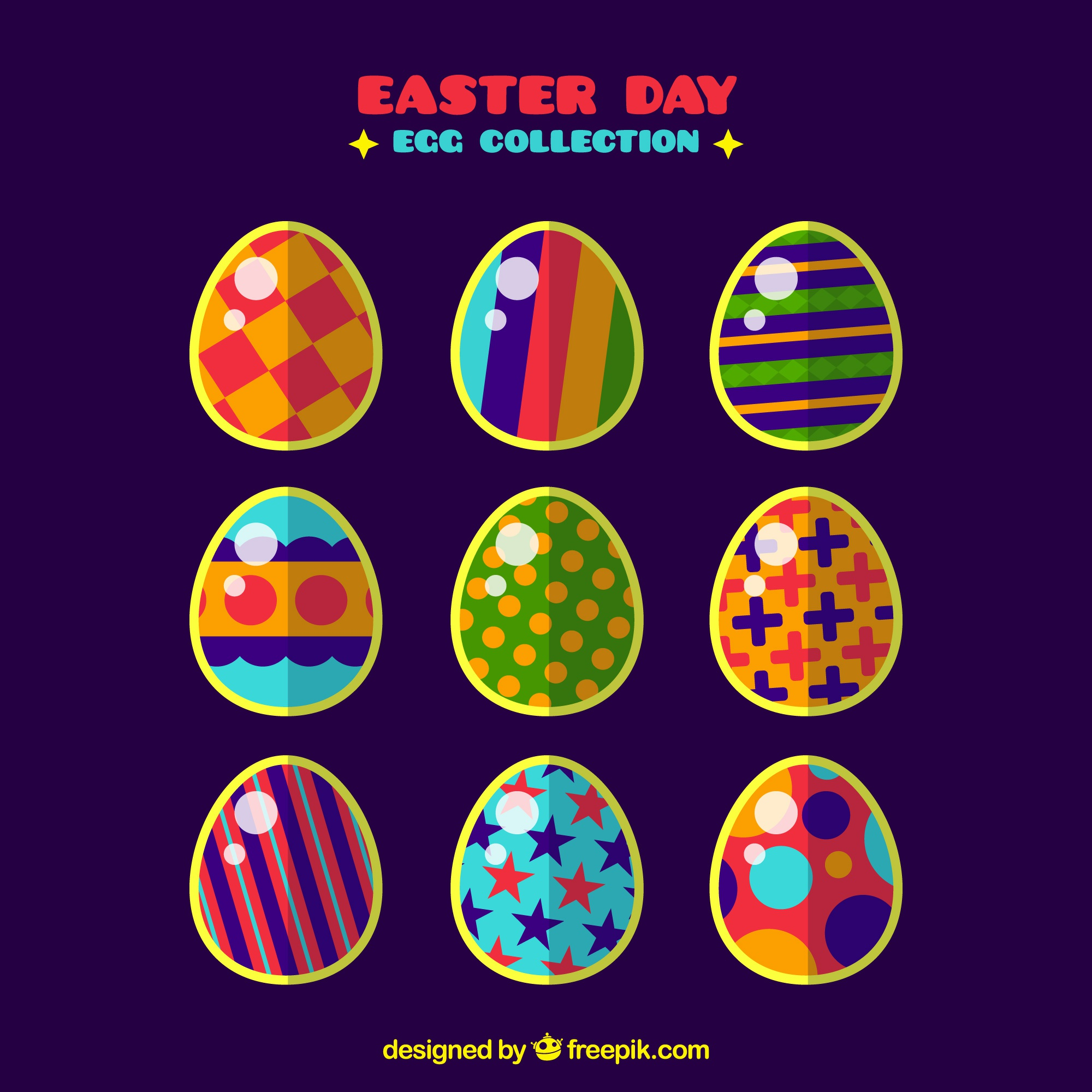 Collection of nine colorful eggs for easter day