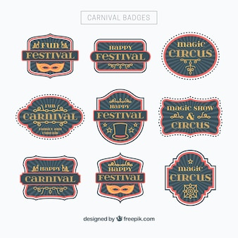Collection of nine decorative carnival badges