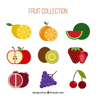Collection of nine different fruits in flat design