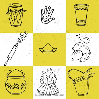 Collection of nine hand-drawn elements for holi festival