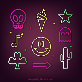 Collection of nine neon lights items
